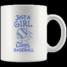 Just a Girl Who Loves Baseball 11oz Ceramic Coffee Mug Gift Blue Text - $19.95