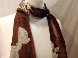 Gorgeous Combo Scarf Velvet and Satin floral vintage rose abstract color choice image 9