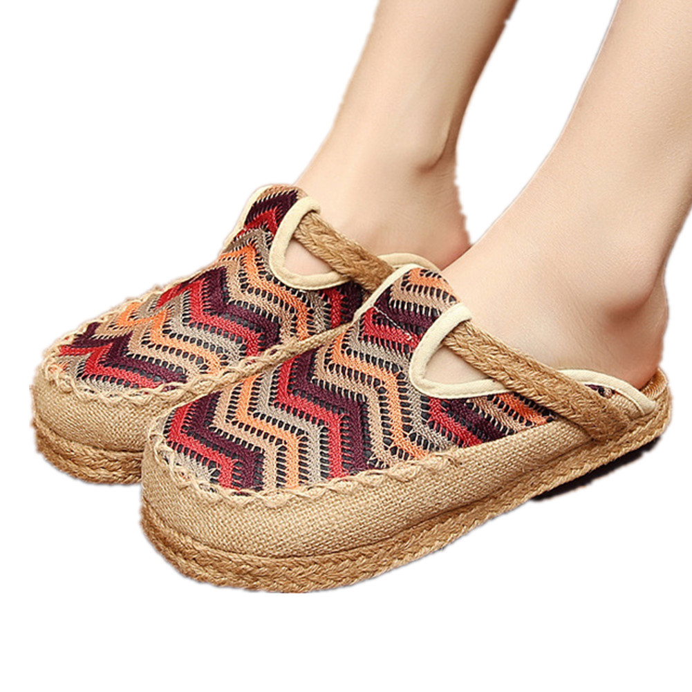 Primary image for Chinese Cotton and linen national wind Embroidy Shoes embroidered Slippers red