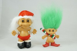 """2 Vintage Russ Christmas Santa's Elf Green Hair 3"""" & Santa Hat White Hai... - $18.87"""