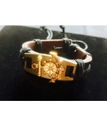 New Gold Anchor Black Leather Bracelet, Adjustable, Gift For Him/Her, Cuff  - $7.50