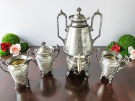 Antique Silver Plate Samovar Hot Water Urn With... - $385.00