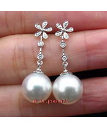 Top 14K GOLD 11-12MM round real NATURAL SOUTH SEA white PEARL Dangle EAR... - $540.70