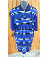 Izod mens XL 100 % polyester navy yellow and white golf shirt - $16.72