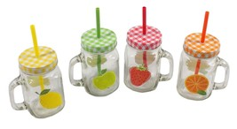 4 PACK FRUITS RED YELLOW GREEN ORANGE GLASS MASON JARS WITH LIDS AND STRAWS - $24.43