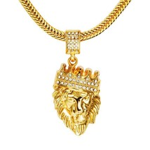 """Men's 18k Gold Plated Crown Lion Head Pendant Necklace W/ Shark Tail Chain 20"""" - $14.69"""