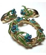 VINTAGE BLUE GREEN ENAMEL LEAVES RHINESTONE BROOCH PIN & CLIP ON EARRINGS - $75.00
