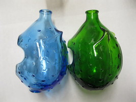 Lot of 2 AG-6 Vintage Taiwan Hobnail Pig Glass Bank- Green and Blue - $34.99