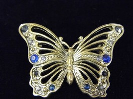 Vintage Brooch Silver Tone Butterfly Blue Gems Costume Fashion Jewelry Pin - $9.66