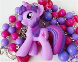 My Little Pony Necklace, Twilight Sparkle Figure Pendant, Beaded Purple ... - $28.00