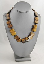VINTAGE Jewelry CARVED & LACQUERED WOOD BEAD BOHO CHIC TRIBAL NECKLACE -... - $45.00