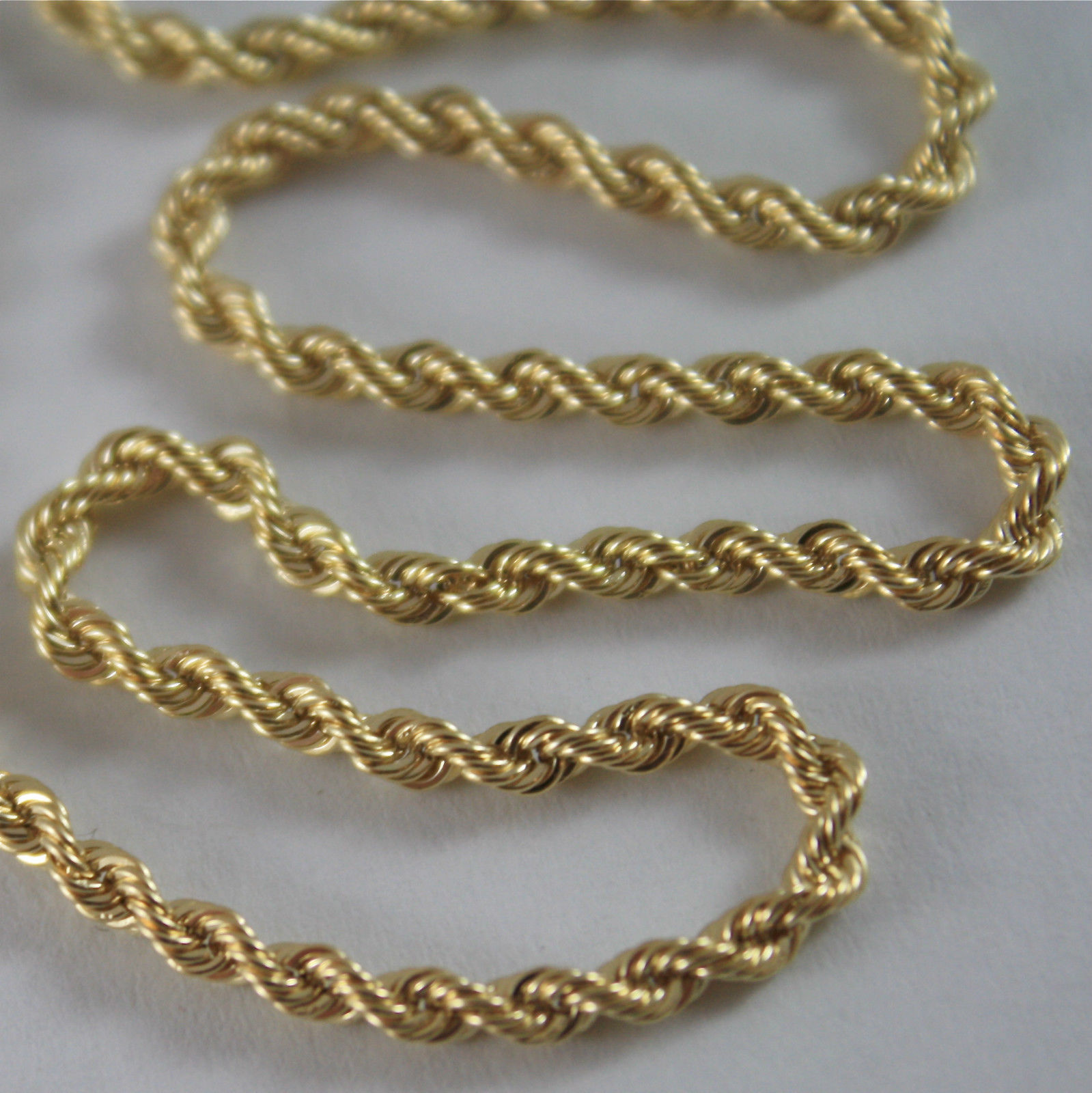 Primary image for SOLID 18K YELLOW GOLD CHAIN NECKLACE, BRAID ROPE MESH 23.62 IN, MADE IN ITALY