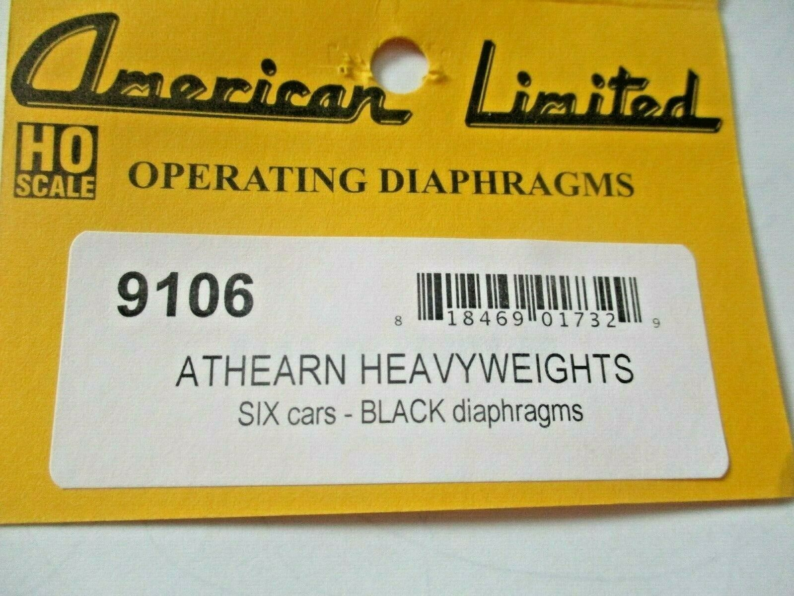 American Limited 9106 Heavyweight Black Diaphragms for 6 Cars Athearn HO-Scale