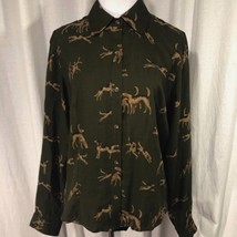Ralph Lauren Green Hunting Dog Shirt Button Down Long Sleeve Size 8 - $38.61