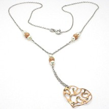 SILVER 925 NECKLACE, PEARLS, HEART PINK PENDANT, MILLED SATIN WAVY image 1