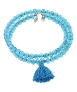 GB1 TAJ aqua glass bead wrap bracelet with color-coordinated tassel  in ... - $2.96