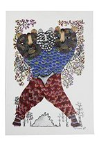 Wall Hanging Gond Painting (Classy Three Faced Lion Man) Size :- 17/11 Inch - $135.00