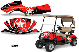 Golf Cart Graphics Kit Decal Sticker Wrap For EZ-Go TXT 2014-2018 TORN RED - $297.95