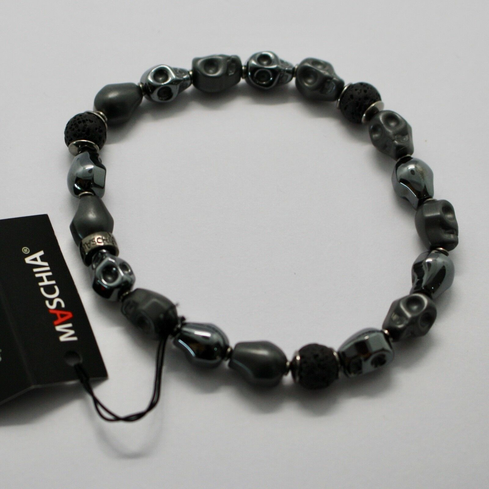 Silver Bracelet 925 Hematite to Skull and Lava BSK-2 Made in Italy by Maschia