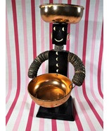 Wonderful Mid Century Folk Art Bottle Cap Man Snack Server - $40.00