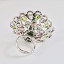 925 Silver Ring Rhodium and Burnished with Zircon Cubic Shaped Peacock image 6