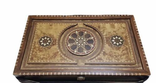 "Luxury Helena Wood Art Handmade Genius Backgammon Set w/ Case Large 23"" x 15"""