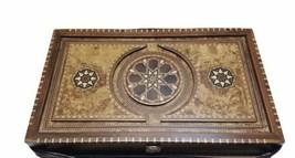 """Luxury Helena Wood Art Handmade Genius Backgammon Set w/ Case Large 23"""" x 15"""" image 1"""