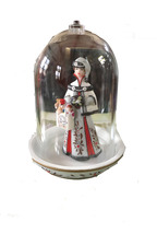 DECORATIVE FIGURINE STANDING ON A PLATE AND COVERED WITH A GLASS GLOBE - $17.89