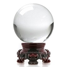 Amlong Crystal 3 inch 80mm Clear Crystal Ball with Redwood Lion Resin St... - $15.38