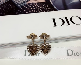 AUTHENTIC Christian Dior 2019 J'ADIOR Heart Crystal Dangle Earrings Wasp Gold image 8