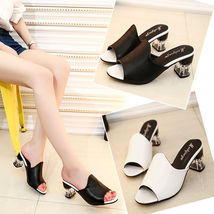 Party Sandals Toe Slipper Platform Chunky Peep summer Ladies Shoes Heel qYSnff
