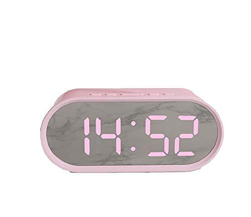 Mooas USB LED Pop Mini Mirror Desk Snooze Alram Clock (Pink)