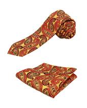 Berlioni Italy Men's Classic Paisley Striped Necktie Tie Handkerchief Gift Set image 9