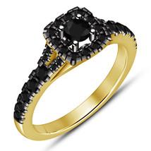 Yellow Gold Finish 925 Silver Halo Round Black Diamond Women's Engagemen... - $68.99