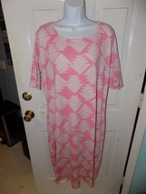 LuLaRoe Pink & White Triangle Print Julia Pencil Dress Size 3XL Women's EUC - $35.20