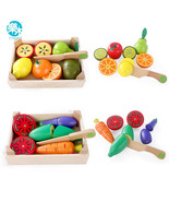 Wooden Kitchen Toys Cutting Fruit Vegetable Play Miniature Food Kids Bab... - $34.46+