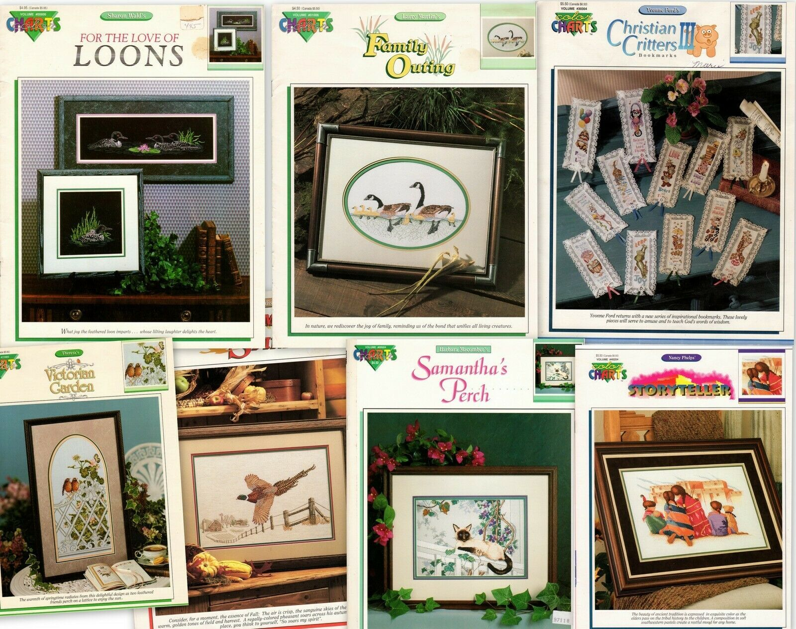 7 Cross Stitch Charts Pheasant Christian Critters Geese Loons Siamese Storytellr - $12.95
