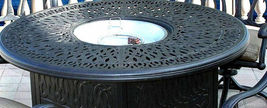 Cast aluminum wicker furniture patio 7pc fire pit dining set with round table image 3