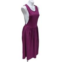 Vintage LL Bean PM Petite Medium Pinafore Purple Flared Dress Overall Po... - $35.28
