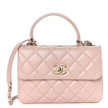 AUTH CHANEL QUILTED LAMBSKIN LIGHT PINK TRENDY CC 2 WAY HANDLE FLAP BAG RECEIPT
