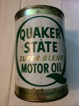 Vintage Quaker State Super Blend Motor Oil, Original Tin Can, Empty