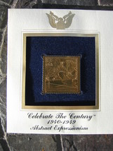 ABSTRACT EXPRESSIONISM 22kt Gold Golden Replica First Day Issue Stamp FD... - $7.91