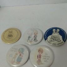 Lot 5 Precious Moments Collectors Buttons Pins Vintage 1980's  - $14.26