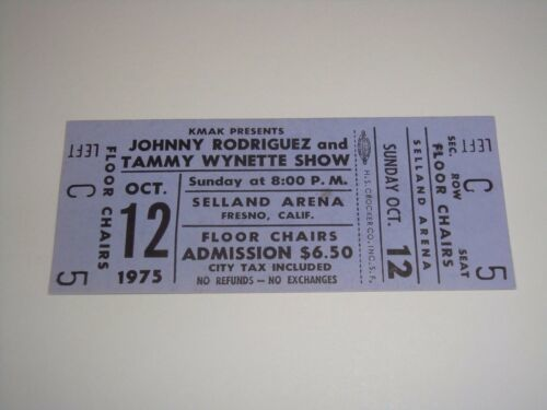 Primary image for TAMMY WYNETTE SHOW JOHNNY RODRIGUEZ 1975 UNUSED CONCERT TICKET SELLAND ARENA CA.