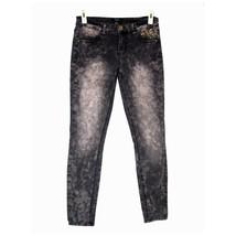 FOREVER 21 Skinny Ankle Jeans 27 Super Stretch Spiked Pocket Tie Dye Jeg... - $17.87