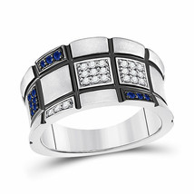 14kt White Gold Womens Round Blue Sapphire Fashion Ring 1/4 Cttw - £722.75 GBP