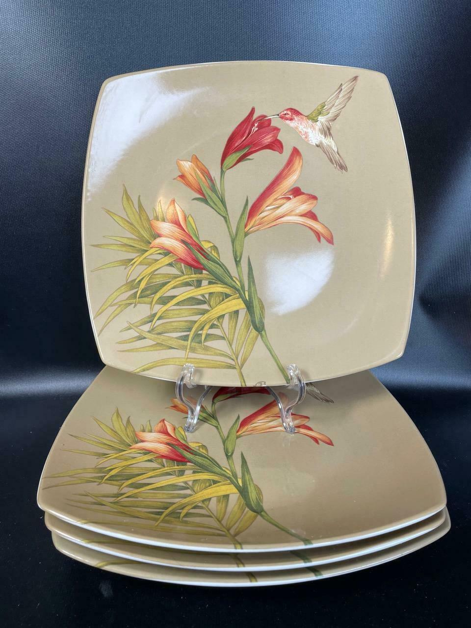 "Primary image for (4) 222 Fifth PTS International Antigua 10.25"" Floral Hummingbird Dinner Plates"