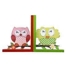 Adeco Set Of 2 Decorative Children'S Wood Bookends - 2 Owls - £13.62 GBP