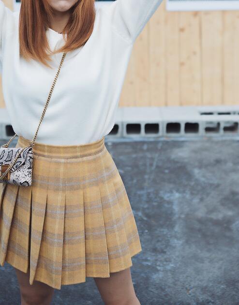 Woolen plaid skirt yellow blue  7