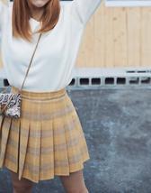 Winter Plaid Pleated Skirt Women Girls Plus Size Wool Pleated Plaid Skirt Yellow image 1